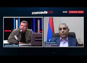 "Artsakh Foreign Minister Masis Mailyan takes part in ""Solovyov LIVE"" program."