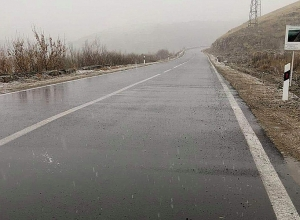 Light snow on roads of Goris region